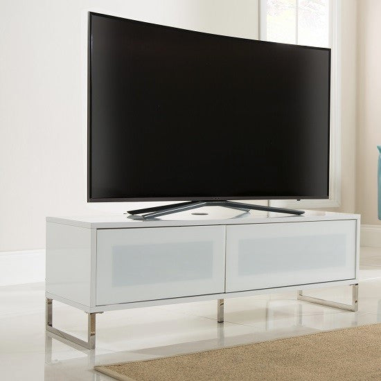 Los Angeles TV Stand in White Gloss & Flap Door