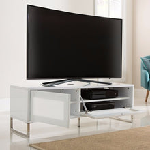 Los Angeles TV Stand in White Gloss & Flap Door 2