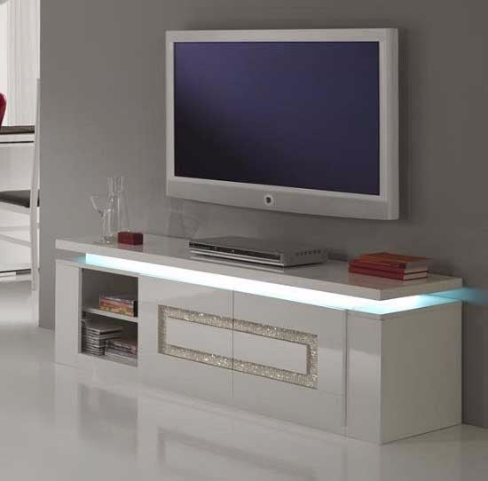 Santorini TV Unit White Gloss With Diamante Insert & Led Lights