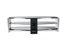White Finish Bigger Size TV Stand White With Smoked Glass-3