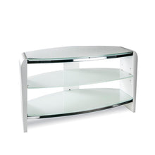 White Finish Bigger Size TV Stand white with white Glasss
