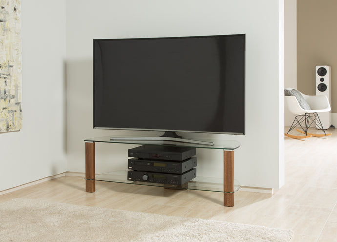 Wooden legs Toughened glass shelves TV cabinet