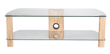 Wooden legs Toughened glass shelves TV cabinet-11