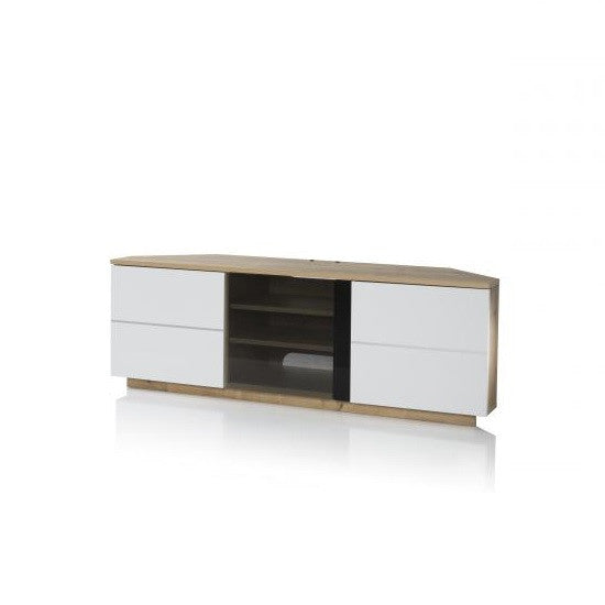 Zagreb Corner TV Stand & Glass Shelf With White Doors