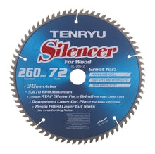 Tenryu SL-26072 Silencer-Series 260mm X 72T 30mm Arbor Blade for Kapex Miter Saw