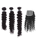 Layered Cut, 3 Sizes Hair Weave Brazilian REMY Deep Wave 100% Natural + 1 Closure Free Style