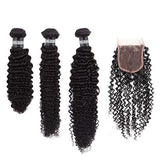 Layered Cut, 3 Sizes Hair Weave Brazilian REMY Kinky Curly 100% Natural + 1 Closure Free Style