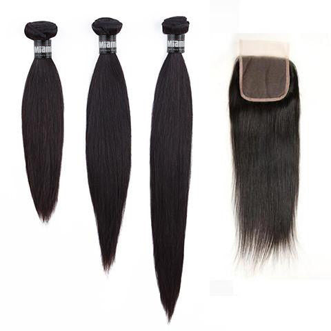 Layered Cut, 3 Sizes Hair Weave Brazilian REMY Straight 100% Natural + 1 Closure Free Style