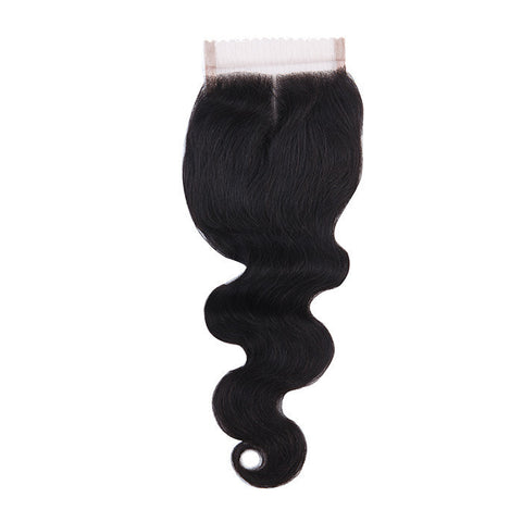 Tissage - Closure Brazilian REMY Hair Natural Body Wave Middle Part