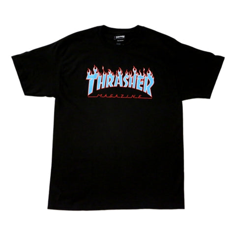 THRASHER(JAPAN) CHAMPION BLUE FLAME SS -BLACK