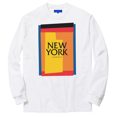 KNOW WAVE CUT OUTS (NEW YORK) L/S T -WHITE