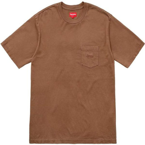 SUPREME OVERDYED POCKET TEE -BROWN
