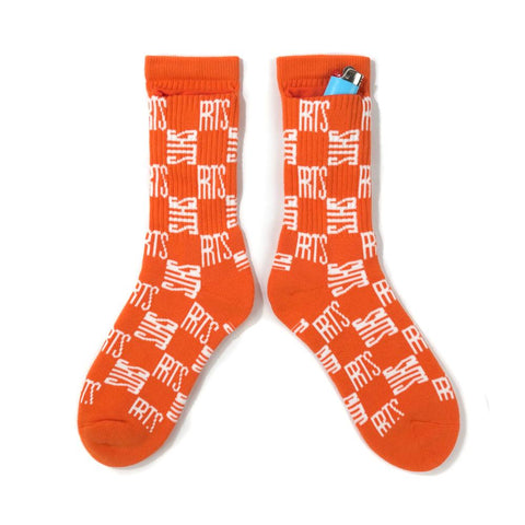 40'S AND SHORTIES CHECKERBOARD SOCKS -ORANGE