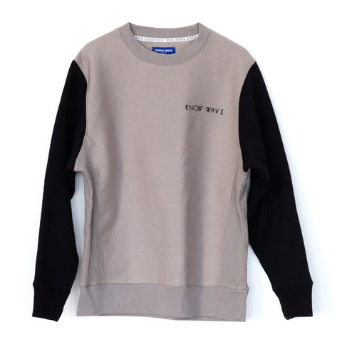 KNOW WAVE TWO-TONE CREWNECK -GREY