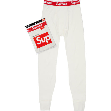 SUPREME HANES THERMAL PANT -WHITE