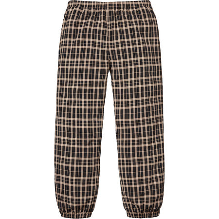 SUPREME NYLON PLAID TRACK PANT -TAN