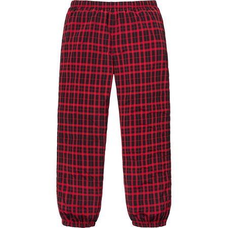 SUPREME NYLON PLAID TRACK PANT -RED