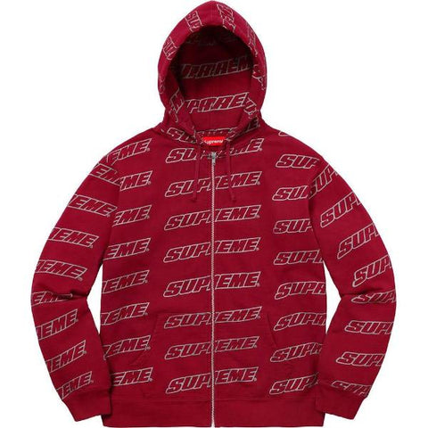 SUPREME REPEAT ZIP UP HO SW -BURGUNDY