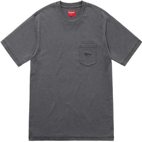 SUPREME OVERDYED POCKET TEE -BLACK
