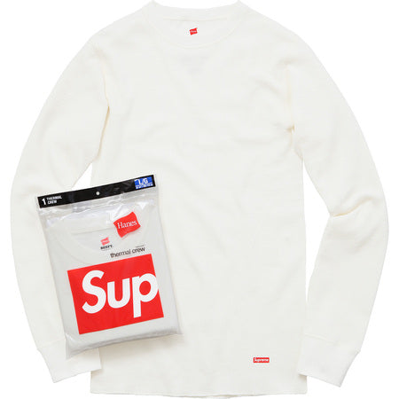 SUPREME HANES THERMAL CREW -WHITE