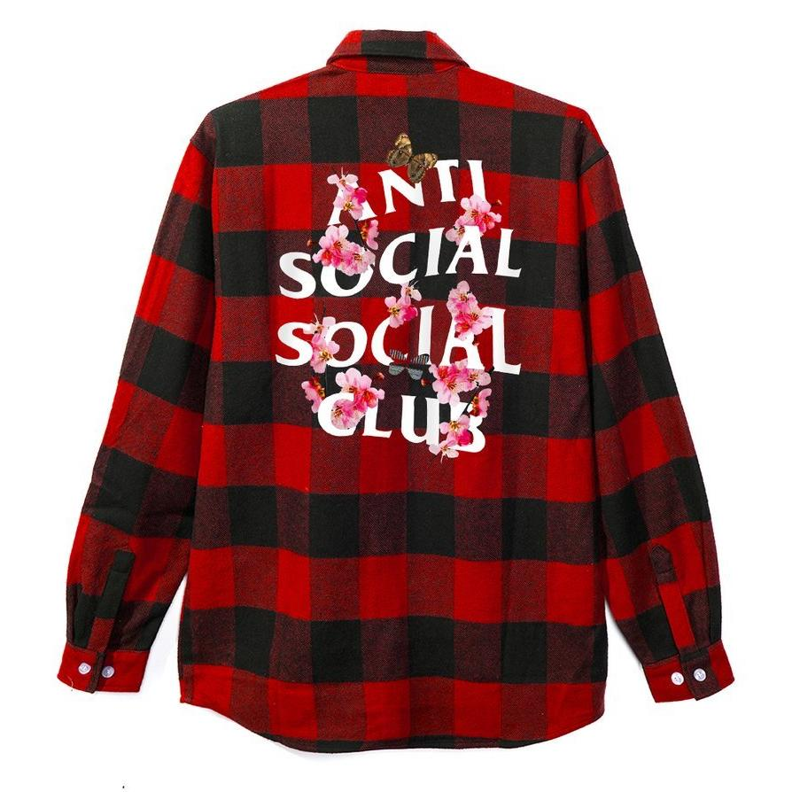 AntiSocialSocialClub KKOCH FLANNEL SHIRT -RED