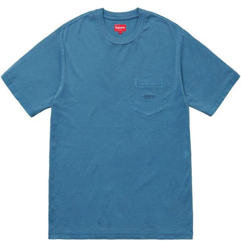 SUPREME OVERDYED POCKET TEE -NAVY