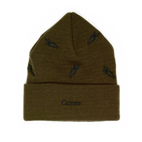 CARROT ALL OVER CARROT BEANIE -OLIVE