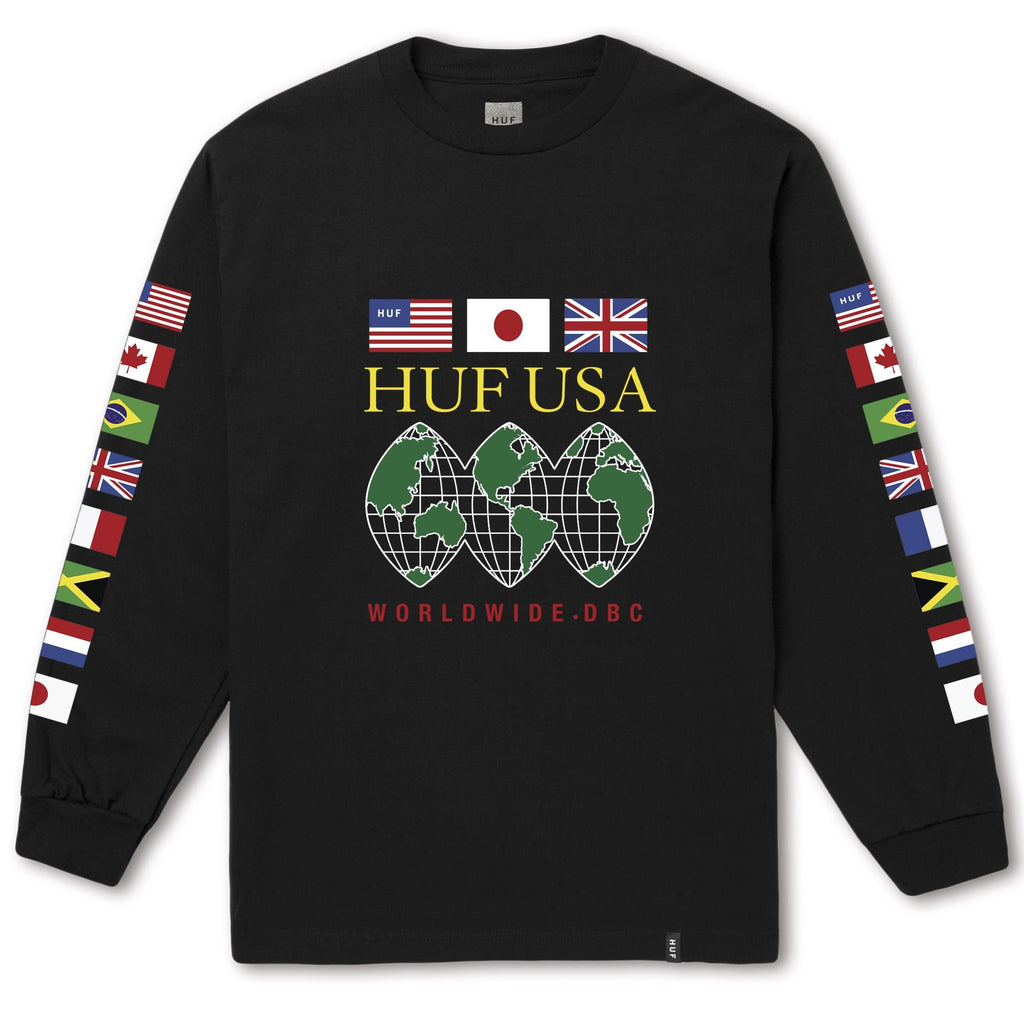 HUF GLOBAL DOMINATION L/S TEE -BLACK