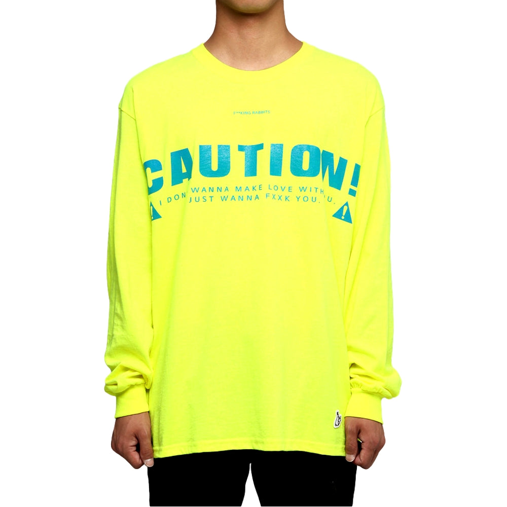 FUCKING RABBIT CAUTION LONG SLEEVE TEE -YELLOW