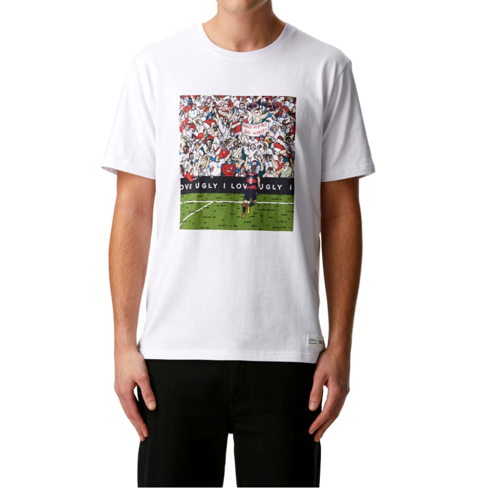 I LOVE UGLY CROWD PRINT TEE -WHITE