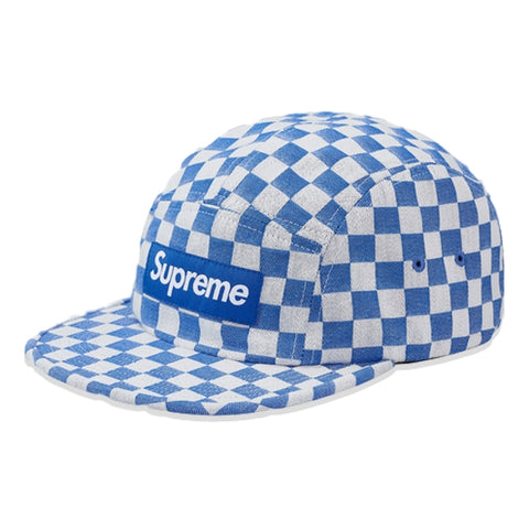 SUPREME CHECKERBOARD CAMP CAP -BLUE
