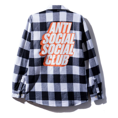 AntiSocialSocialClub BLOCKED FLANNEL WHITE -WHITE