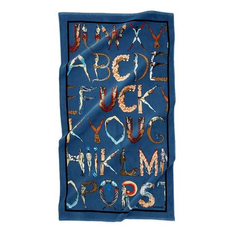 SUPREME ALPHABET BEACH TOWEL -NAVY