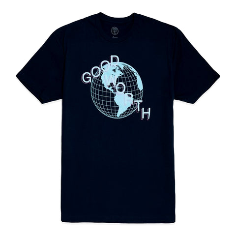 GOOD WORTH GLOBE TEE -NAVY