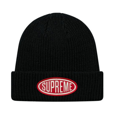 SUPREME OVAL PATCH BEANIE -BLACK