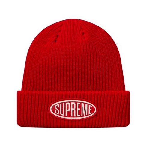 SUPREME OVAL PATCH BEANIE -RED