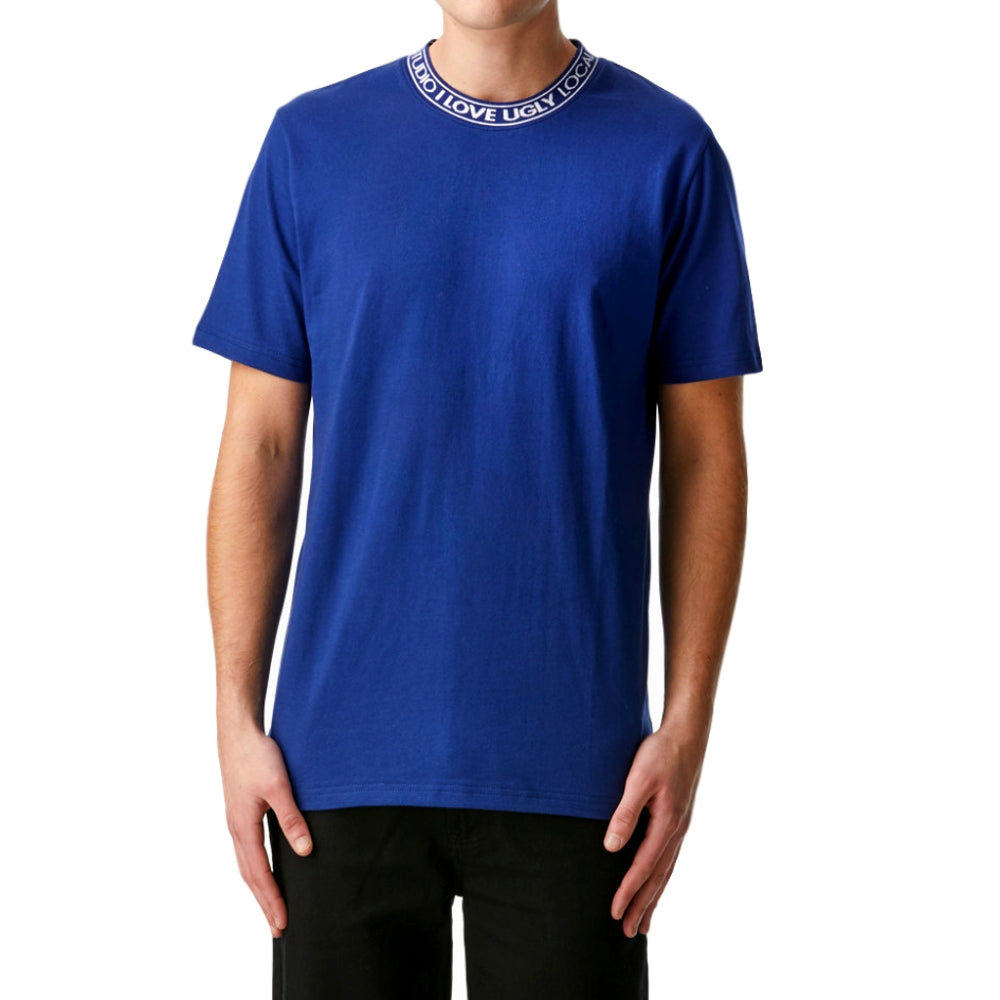 I LOVE UGLY Neck Logo Tee -BLUE