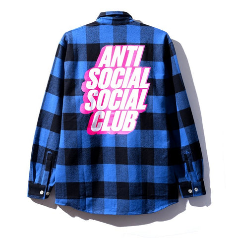 AntiSocialSocialClub BLOCKED FLANNEL BLUE -BLUE