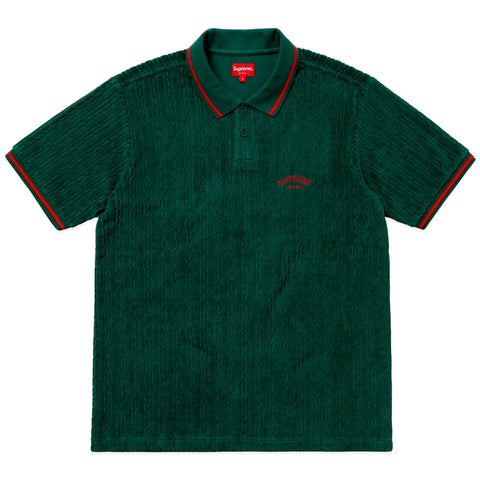 SUPREME Cable Knit Terry Polo -GREEN