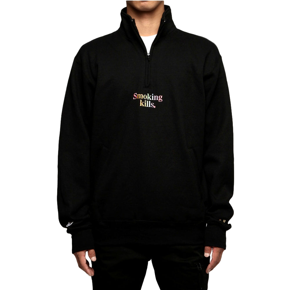 FUCKING RABBIT SMOKING KILLS HALF ZIP SW -BLACK