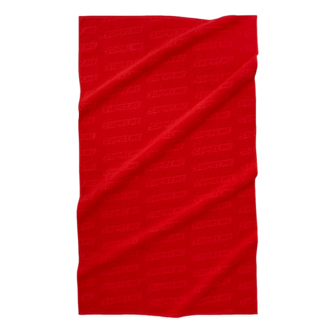 SUPREME EMBOSSED LOGO BEACH TOWEL -RED