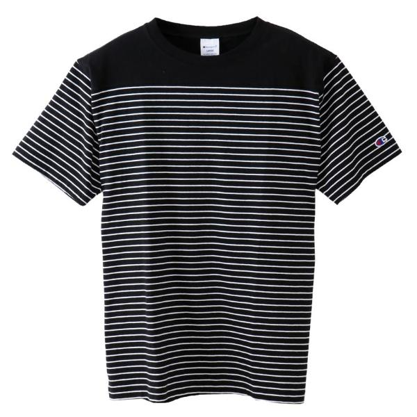 CHAMPION STRIPE LOGO TEE -BLACK