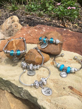 Silver Cuff Pandora and European Glass Beads for Medical Awareness