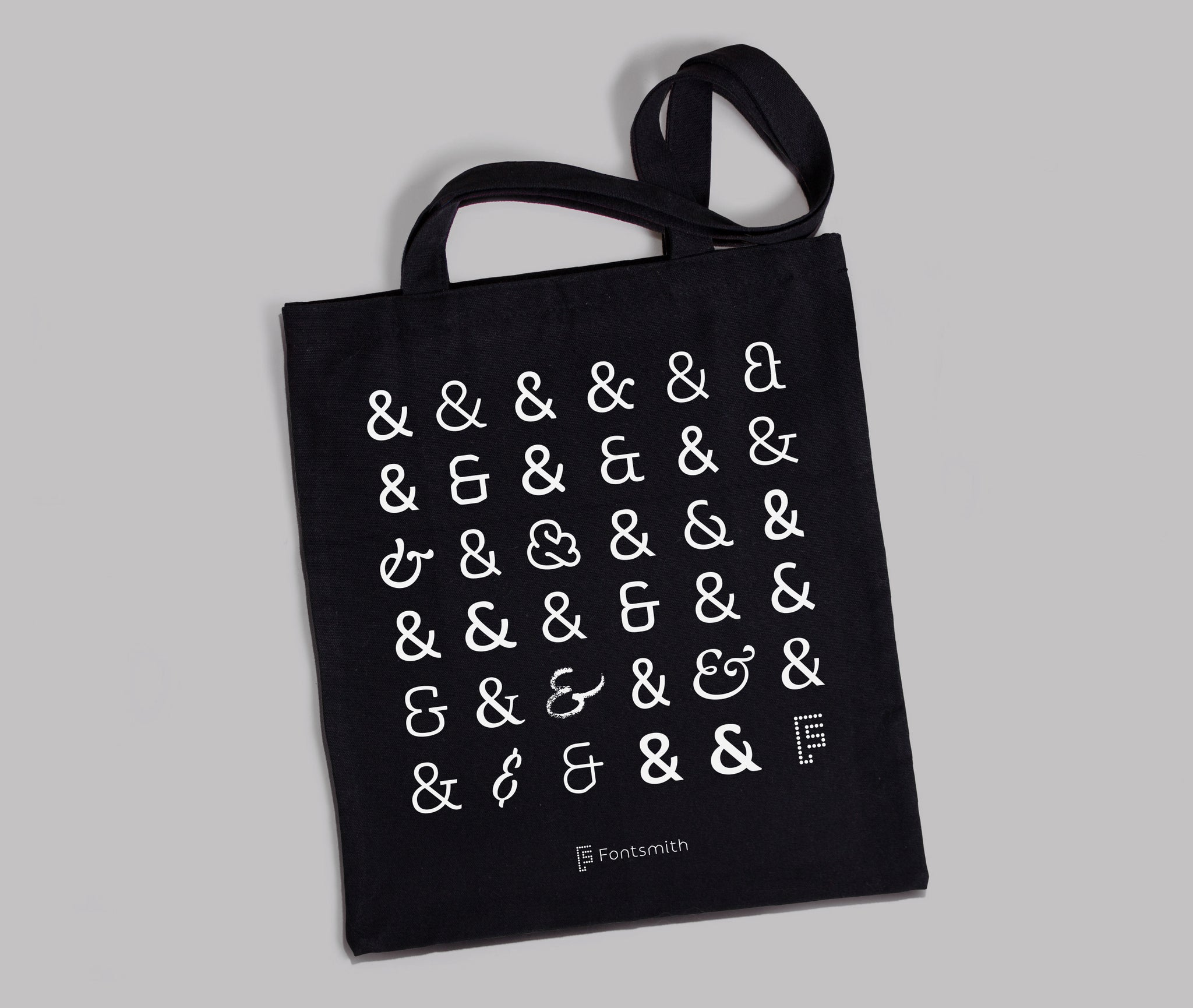 Ampersand Typography Collection Black Tote Bag by Fontsmith