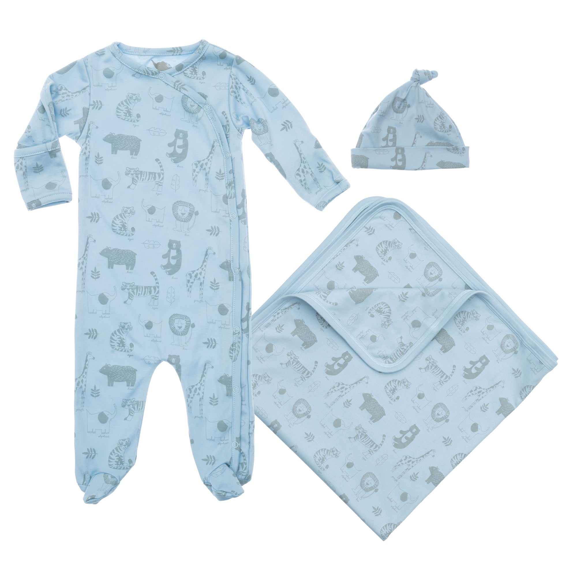 baby blue pima cotton gift set including hat blanket and coverall