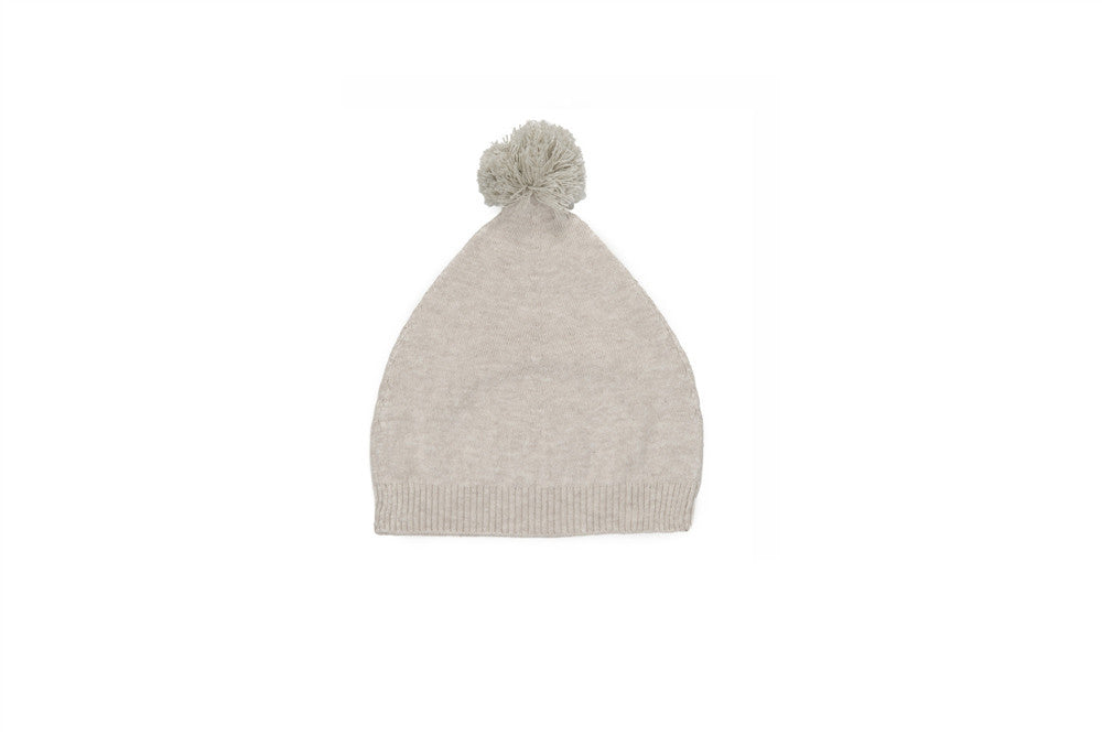 ivory cashmere cotton hat with pom pom