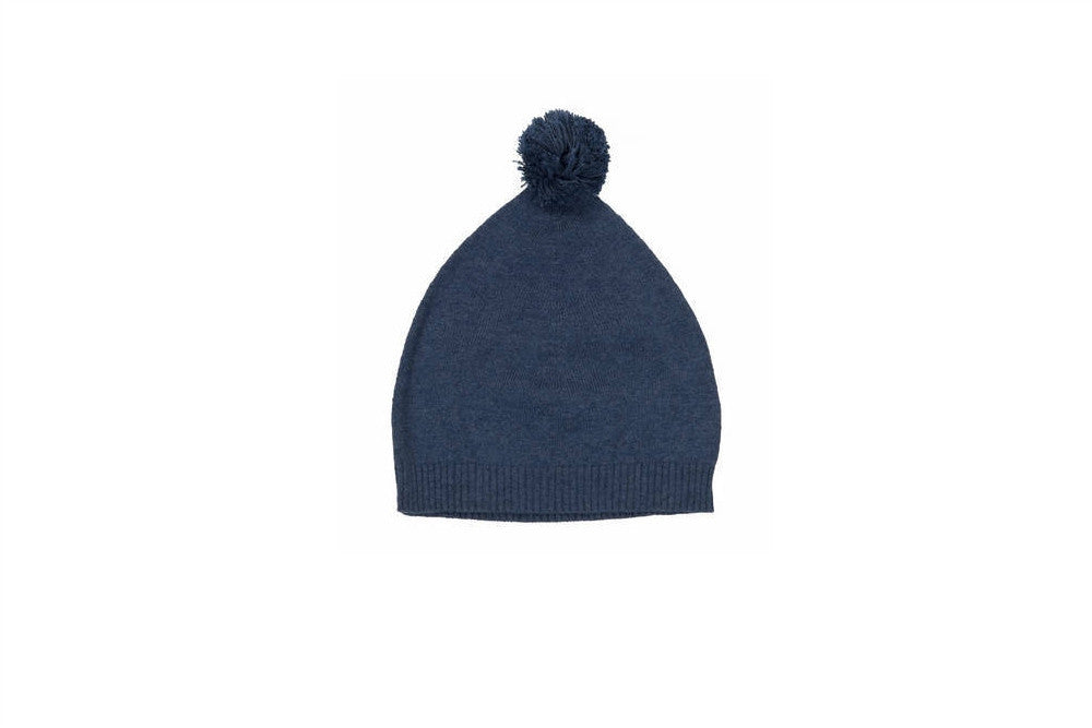 indigo cashmere hat with pom pom