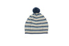 blue and grey stripe infant hat with pom pom