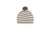 pink and grey stripe cashmere hat with pom pom