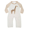 infant coverall in ivory with giraffe graphic and stripe sleeves